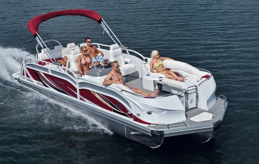 Pontoon boat on lake Havasu.